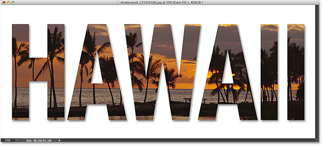Placing an image inside text with Photoshop CS6 and Photoshop CC (Creative Cloud). Image © 2014 Photoshop Essentials.com