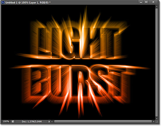 A colorful light burst text effect created with Photoshop CS6