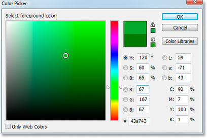 Adobe Photoshop Text Effects: Selecting a lighter shade of green for the text in Photoshop's Color Picker.