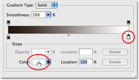 Photoshop's Gradient Editor. Image © 2009 Photoshop Essentials.com.