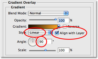 The Gradient Overlay options in the Layer Style dialog box. Image © 2009 Photoshop Essentials.com.