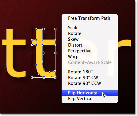 Choosing Flip Horizontal from the contextual menu. Image © 2011 Photoshop Essentials.com.