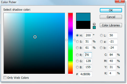 Adobe Photoshop Text Effects: Choosing a darker shade of the sampled color to use for the drop shadow