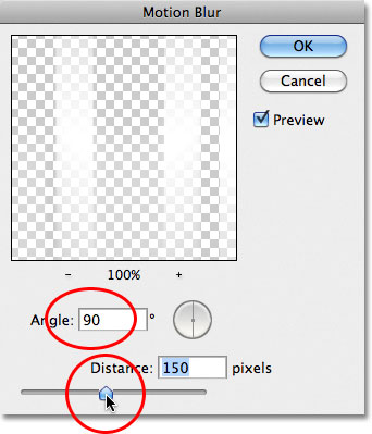 The Motion Blur dialog box in Photoshop. Image © 2011 Photoshop Essentials.com.