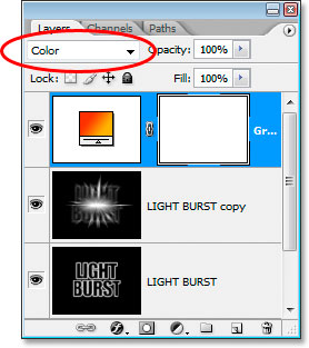 Photoshop Text Effects: Change the blend mode to Color