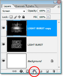 Photoshop Text Effects: Click the New Fill Or Adjustment Layer icon