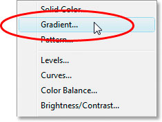 Photoshop Text Effects: Select the Gradient fill layer option