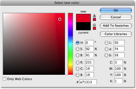 Photoshop's Color Picker. Image &copy; 2009 Photoshop Essentials.com