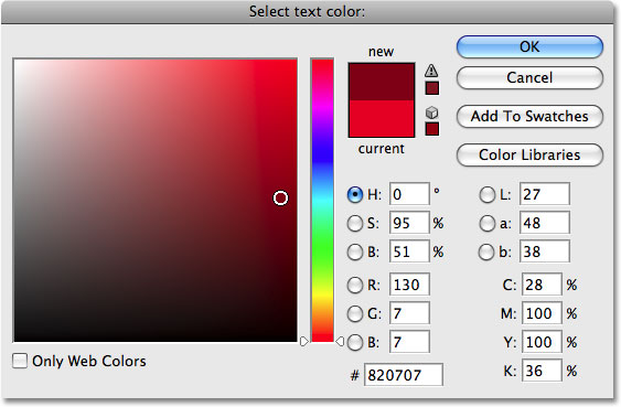 Choosing a darker color in the Color Picker. Image © 2009 Photoshop Essentials.com