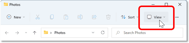 Opening the View menu in the File Explorer window.