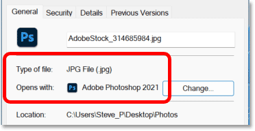 Photoshop is now set as the default app for opening JPEG files in Windows 11
