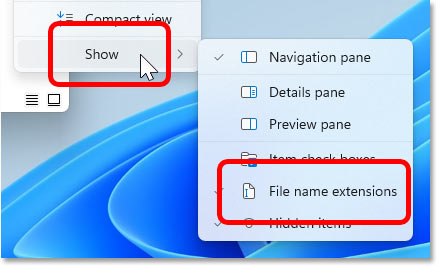 Choosing Show File name extensions in Windows 11.
