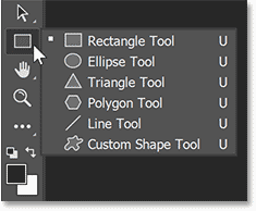 Clicking and holding on the Rectangle Tool in Photoshop's toolbar