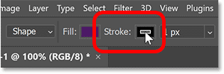Clicking the Stroke color swatch.