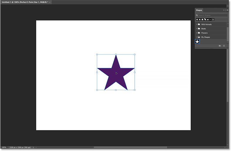 The star is drawn when you release your mouse button