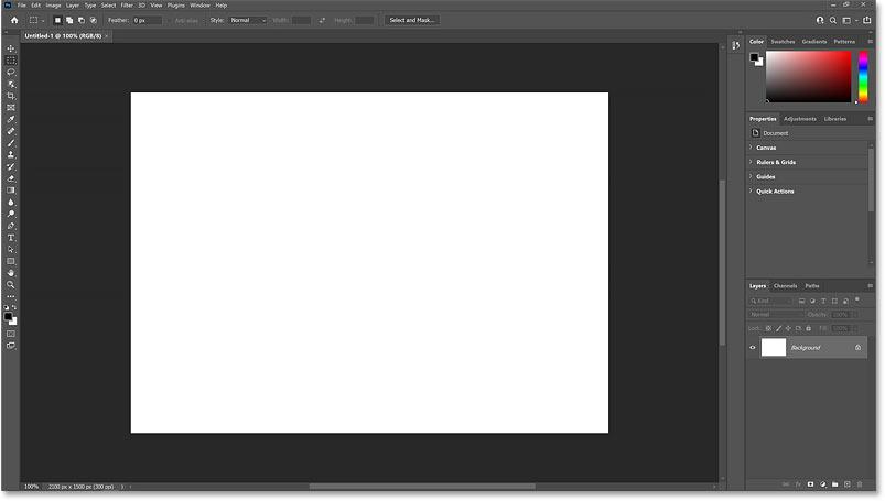 The new Photoshop document