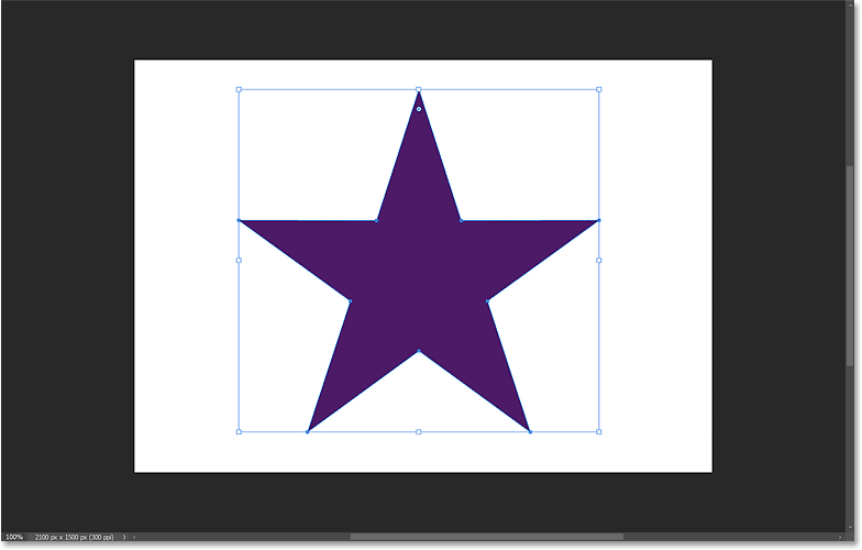 A perfect 5 point star created by setting the Star Ratio to 47 percent in Photoshop