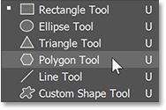 Choosing the Polygon Tool in Photoshop's toolbar
