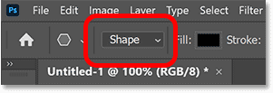 The Tool Mode in the Options Bar set to Shape