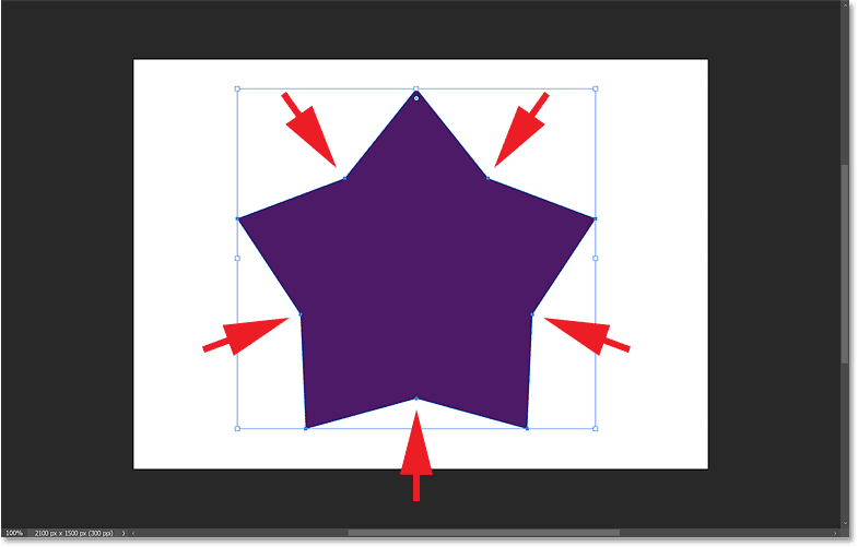 Lowering the Star Ratio option to create the star