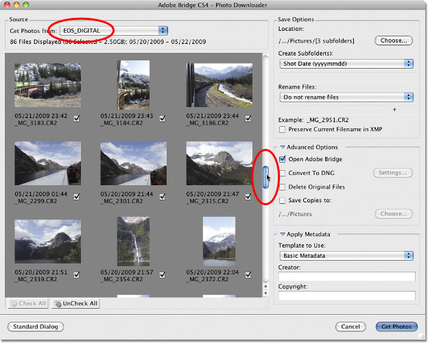 The Adobe Bridge CS4 Photo Downloader Advanced Dialog box.