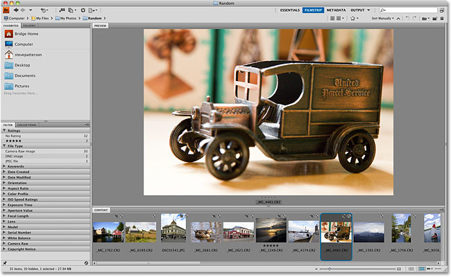 The Filmstrip workspace in Adobe Bridge CS4.