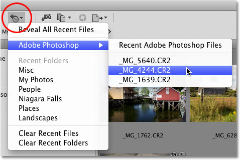 The Recent Files or Folders icon in Adobe Bridge CS4.