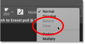 The Clear brush blend mode is unavailable with painting on the Background layer in Photoshop