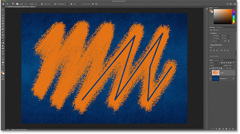The problem with erasing a brush stroke using the Eraser Tool in Photoshop