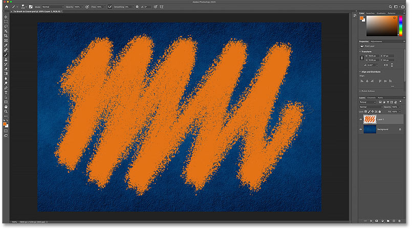 Painting a stroke with Photoshop's Brush Tool