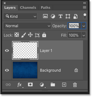 Photoshop's Layers panel showing a blank layer above the Background layer.
