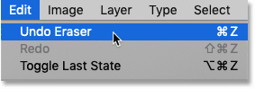 Choosing the Undo Eraser command in Photoshop