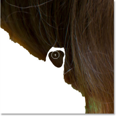 Painting inside the missing hair.