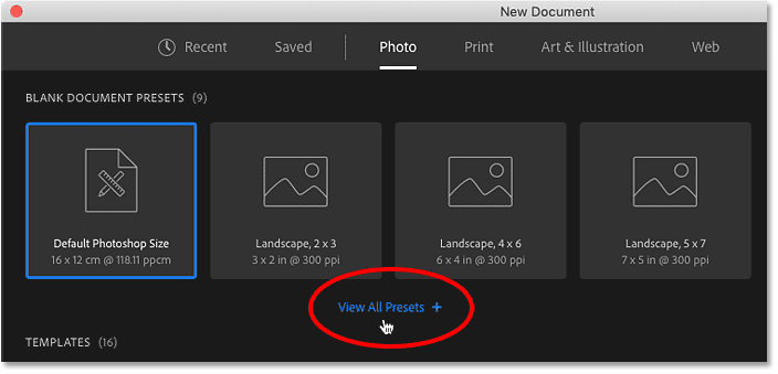 Clicking the View All Presets option in Photoshop's New Document dialog box.