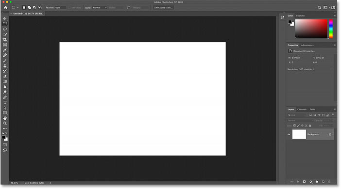 Opening the new Photoshop document with my custom settings