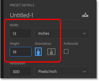 Entering custom width and height values into Photoshop's New Document dialog box.