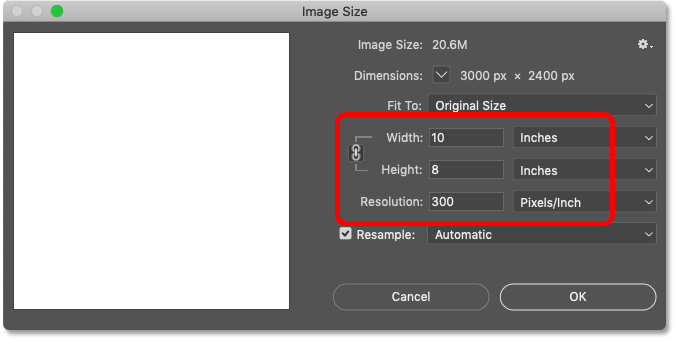 The Image Size dialog box in Photoshop.