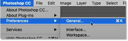 Opening Photoshop's Preferences