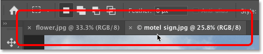 Clicking the document tabs to switch between images in Photoshop