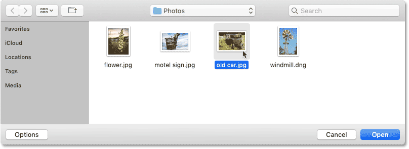 Selecting a third image to open in Photoshop.