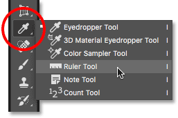 graphic design in hindi | Selecting the Ruler Tool from behind the Eyedropper Tool in the Photoshop Toolbar.