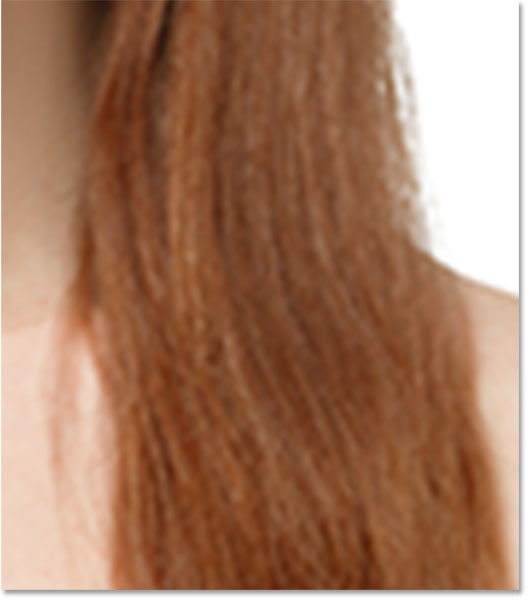 A close-up of the hair from the upscaled pixel version.