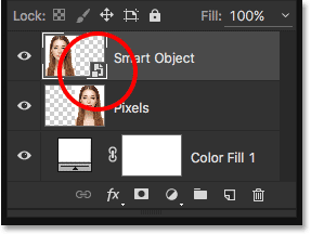 The Layers panel showing the new Smart Object icon.
