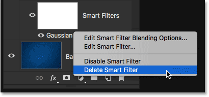Choosing the Delete Smart Filter menu option.