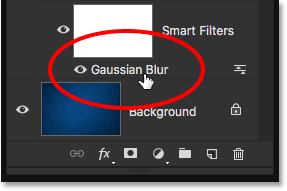 Re-opening the Gaussian Blur Smart Filter in the Layers panel.