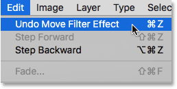 Choosing Undo Move Filter Effect under the Edit menu.