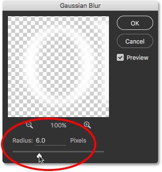 Setting the Radius value in the Gaussian Blur filter dialog box.