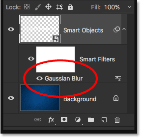 The Layers panel showing the Gaussian Blur Smart Filter.