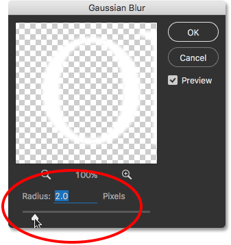 Lowering the Gaussian Blur Radius value to 2 pixels.