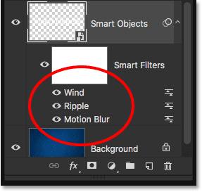 The Layers panel showing all three Smart Filters being applied to the type.